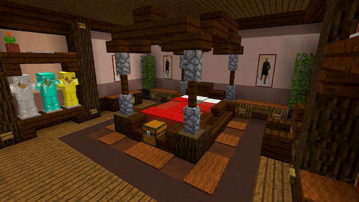 (double bed bedroom), a room with pink and purple beds at the end, as well as a table with a flower pot in the corner. Top 10 Building Exceptional Rooms With Minecraft - Startup ...