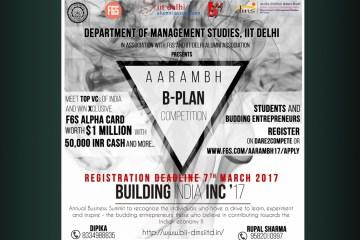 Aarambh B-Plan Competition By IIT Delhi