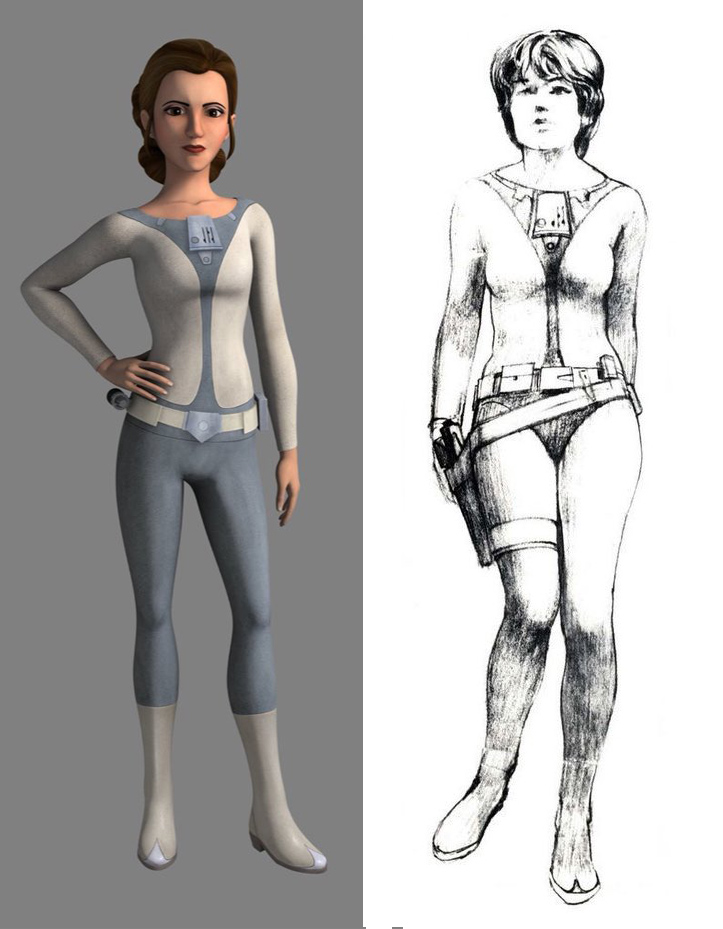 Leia's outfit is een oud Ralph McQuarrie ontwerp.
