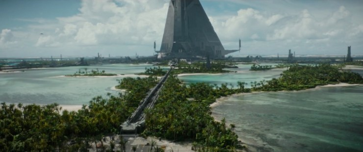 Dit prachtige shot op de planeet Scarif geeft ons een glimp van een Imperial complex.