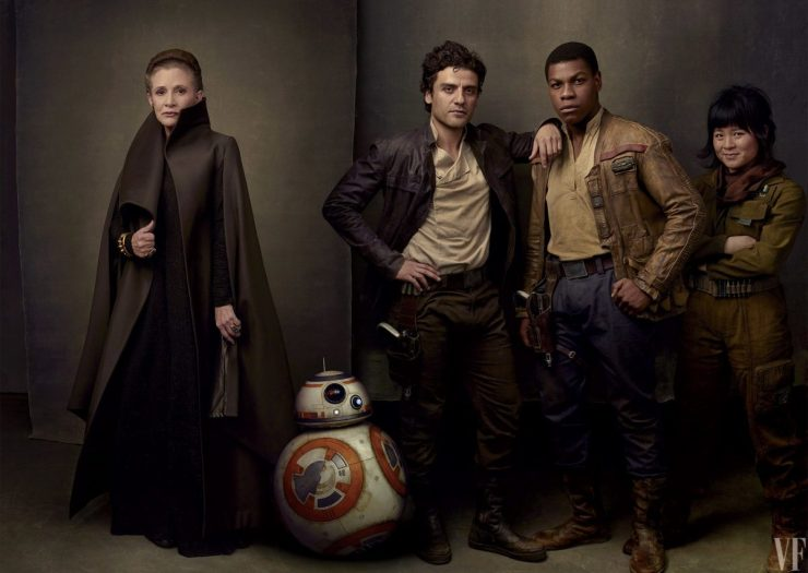 General Leia, BB-8, Poe Dameron, Finn en Rose.