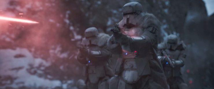 Hier een wat duidelijker shot van de warm geklede troopers, net voor Beckett er eentje neer schiet.