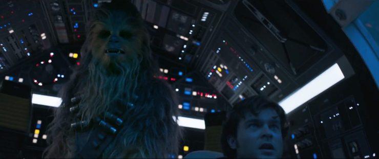 Hier is Chewbacca het prutswerk van Han zat en haalt een stel hendels over en drukt wat knoppen in om Han te helpen. Han is nogal verrast wanneer Chewie hem verteld dat hij 190 jaar oud is en dus het een en ander aan ervaring heeft.