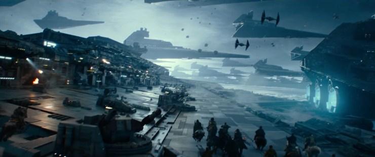 Hier zien we Jannah, Finn en de groep strijders weer over de Star Destroyer galopperen terwijl we op de achtergrond nog tientallen Destroyers zien vliegen. Terwijl er B-Wings, X-Wings en Tie Daggers met elkaar in gevecht zijn.