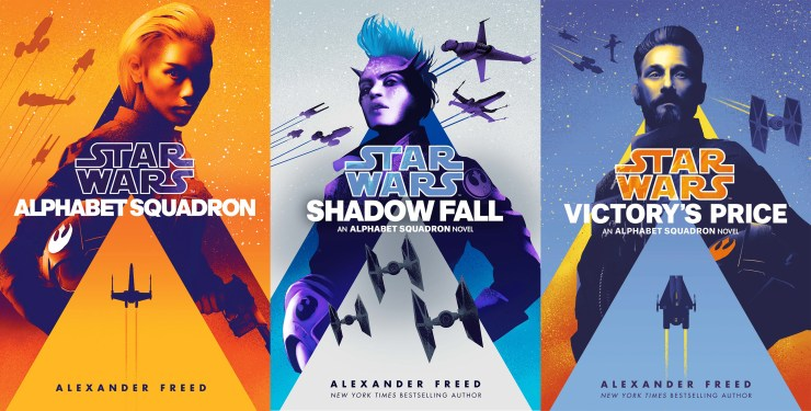 De covers van Alphabet Squadron, Shadow Fall en Victory's Price. Artwork door Jeff Langevin.