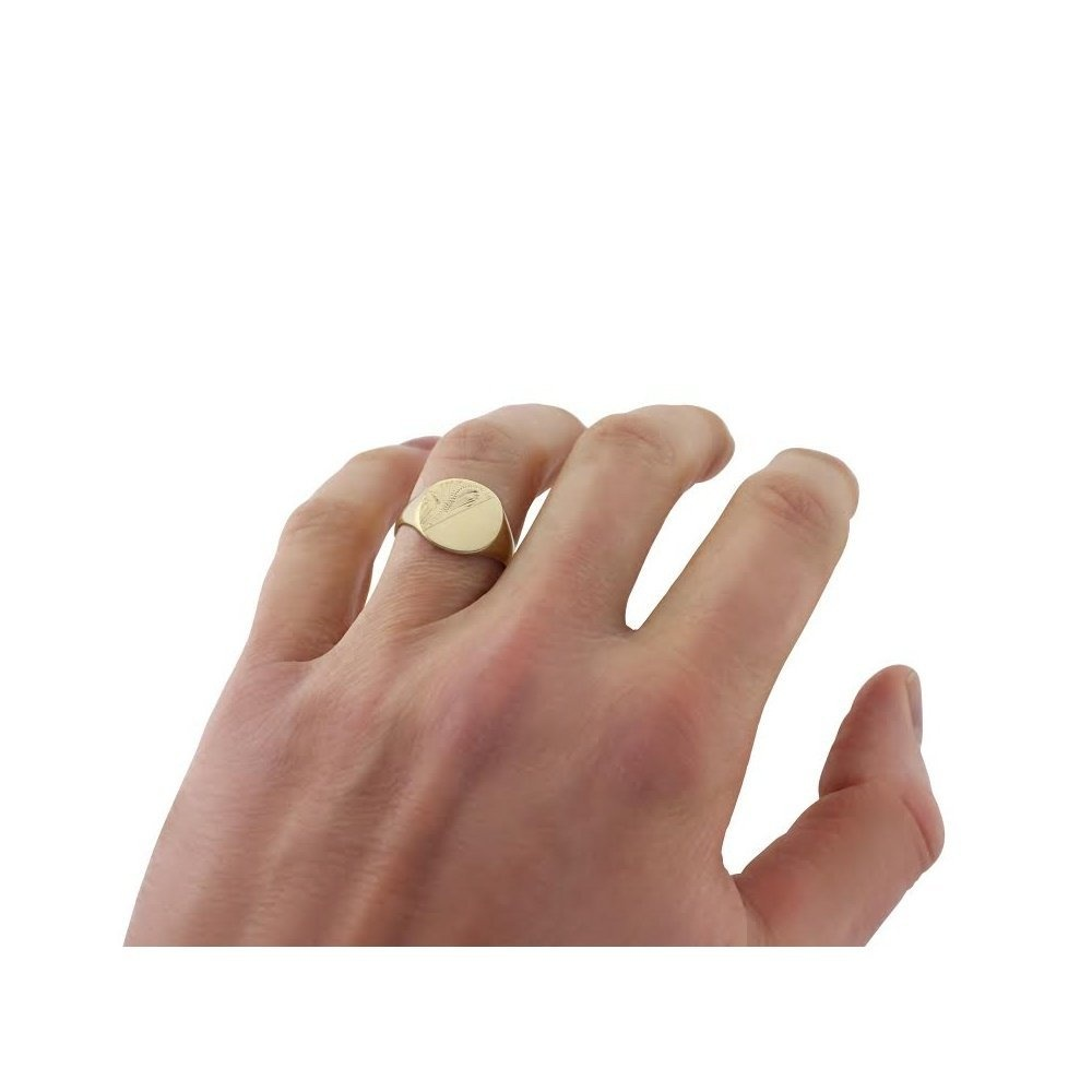 Cushion Shaped 9kt Yellow Gold Engraved Signet Ring