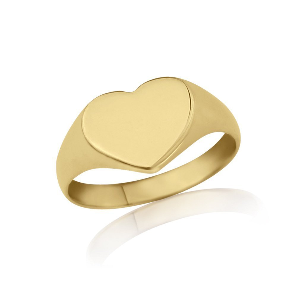 Gold Signet Ladies Heart Ring