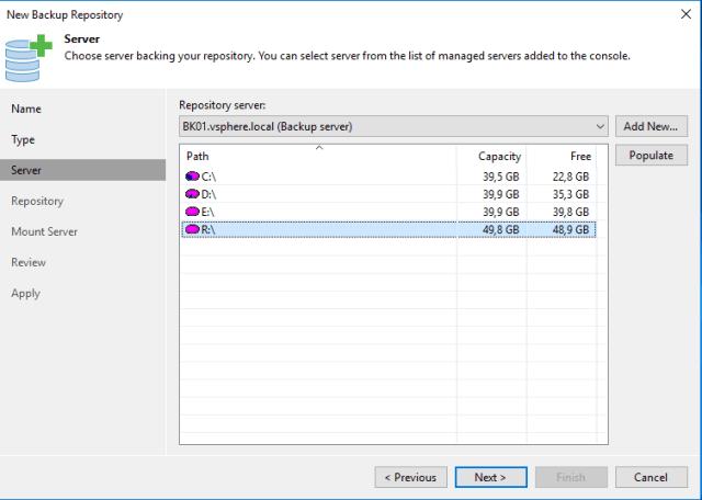 New Backup repository Server