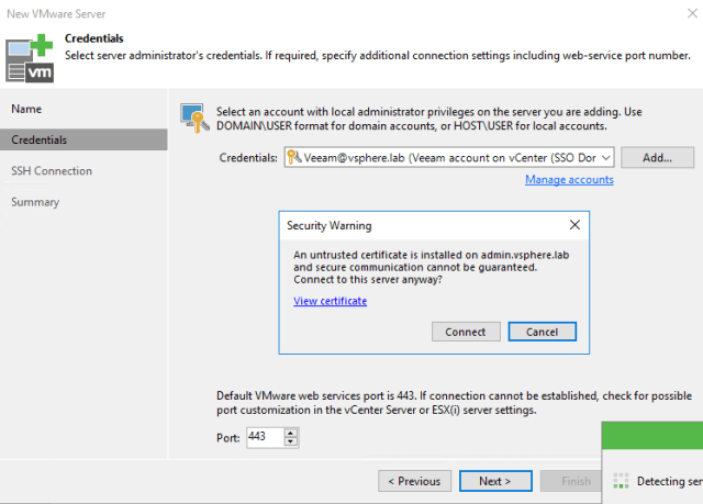 New VMware Server creation secutiry warning