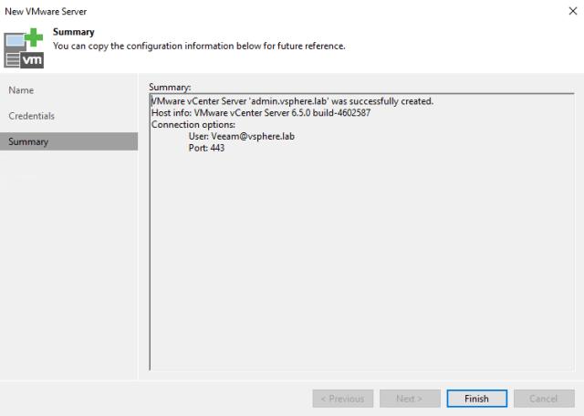 New VMware Server summary