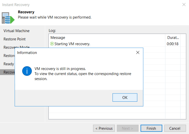 Instant Recovery Recovery ewady to apply VM information