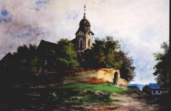 Obraz Starokolínský kostel, autor: Marie Riegrová někdy cca v 60.letech 19.století, který znázorňuje Starokolínský kostel ještě před přestavbou ze 70.let 19.století.