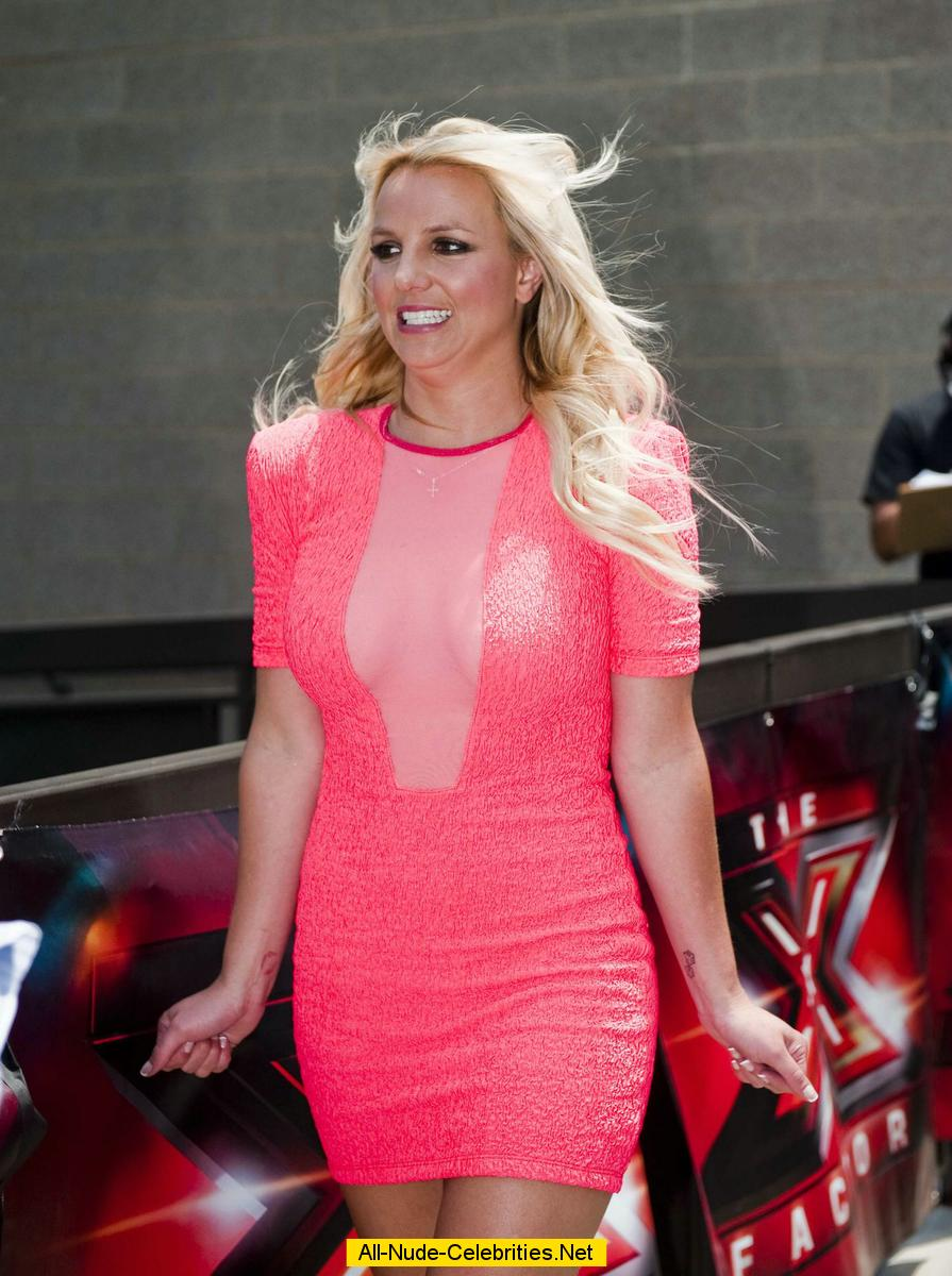 Britney Spears sexy in short pink dress at X Factor auditions