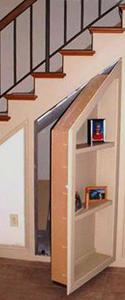 secret bookcase door under