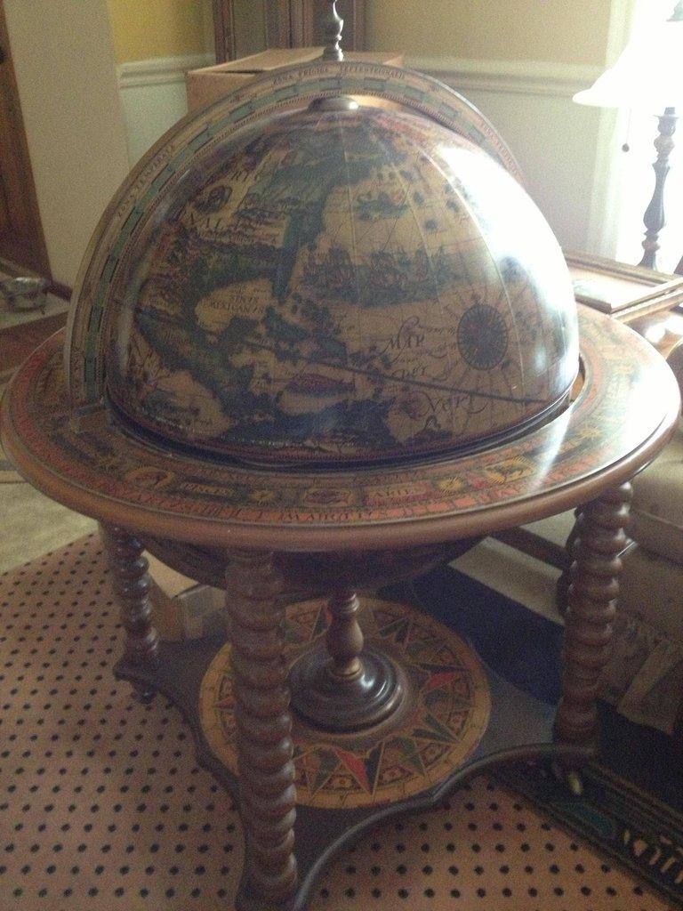 Antique Globe with MiniBar  StashVault