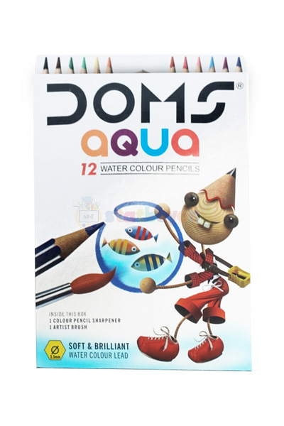 DOMS Aqua Water Soluble 12 Colour Pencil