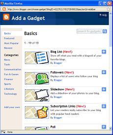 Blogger - Add a Gadget Window