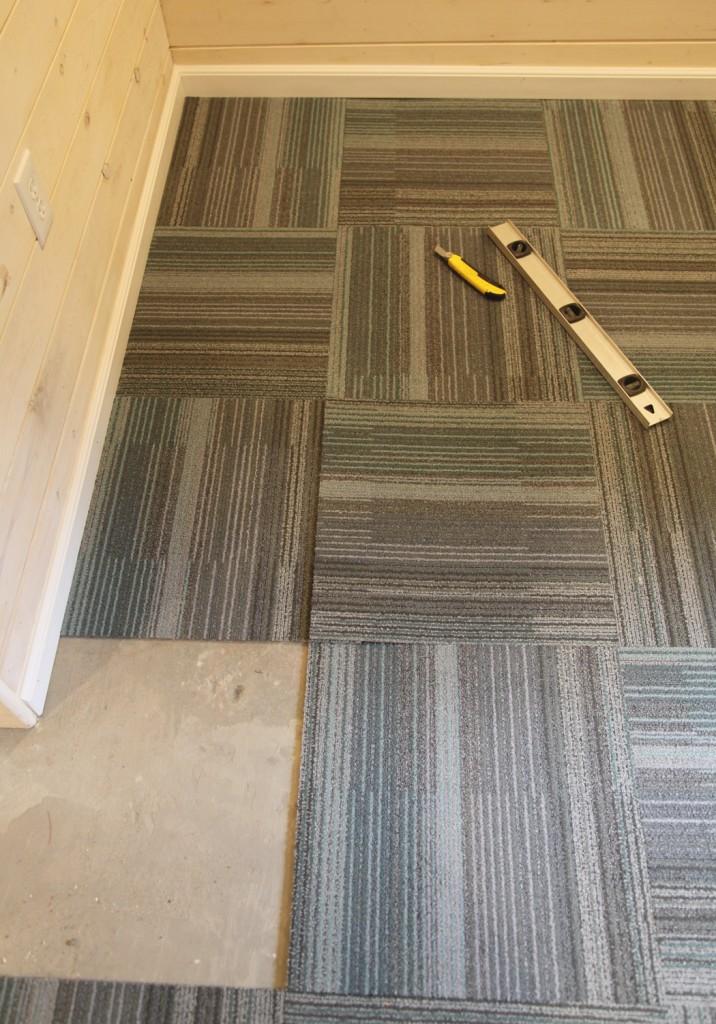 Our Basement Part 40 Installing Carpet Tile  Stately Kitsch