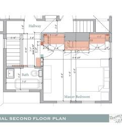second floor hallway update shifted bedroom door electrical conduit [ 3300 x 2550 Pixel ]