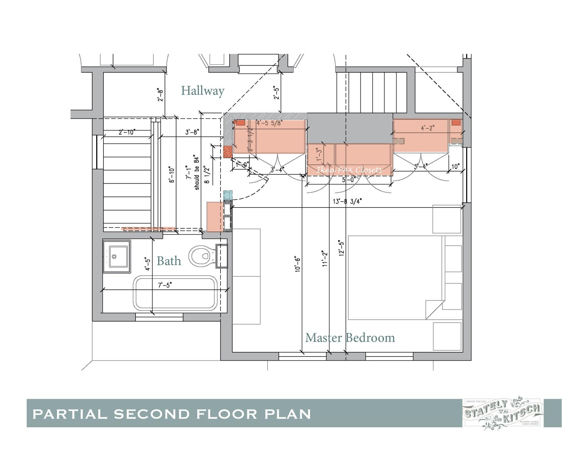 hight resolution of second floor hallway update shifted bedroom door electrical conduit