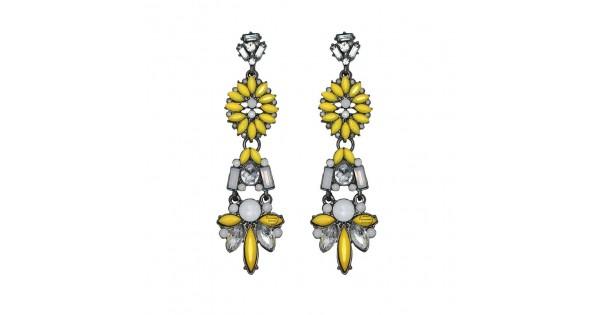 Boho Neon Yellow Geo Crystal Drop Statement Earrings