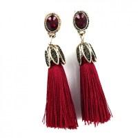 Red Wine Opal Crystal Tassel Drop Statement Earrings