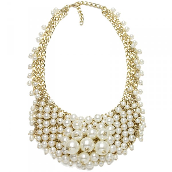 White Ivory Pearls Crystal Cascade Bib Statement Necklace