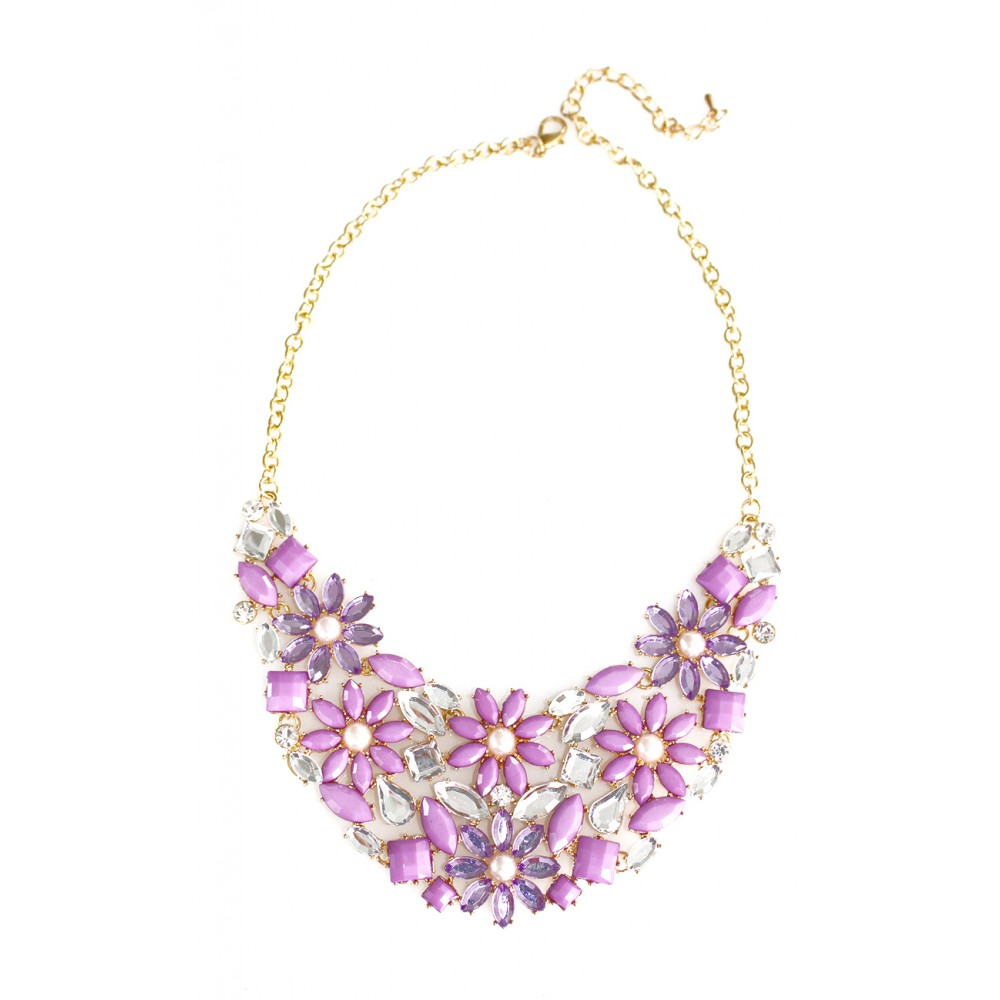 Frosty Lilac Flower Cluster Pearl Statement Necklace