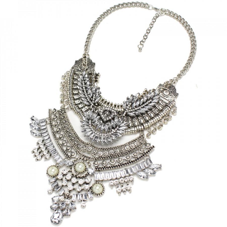 Art Deco Crystal Embellished Western Silver Boho Edgy Statement Necklace