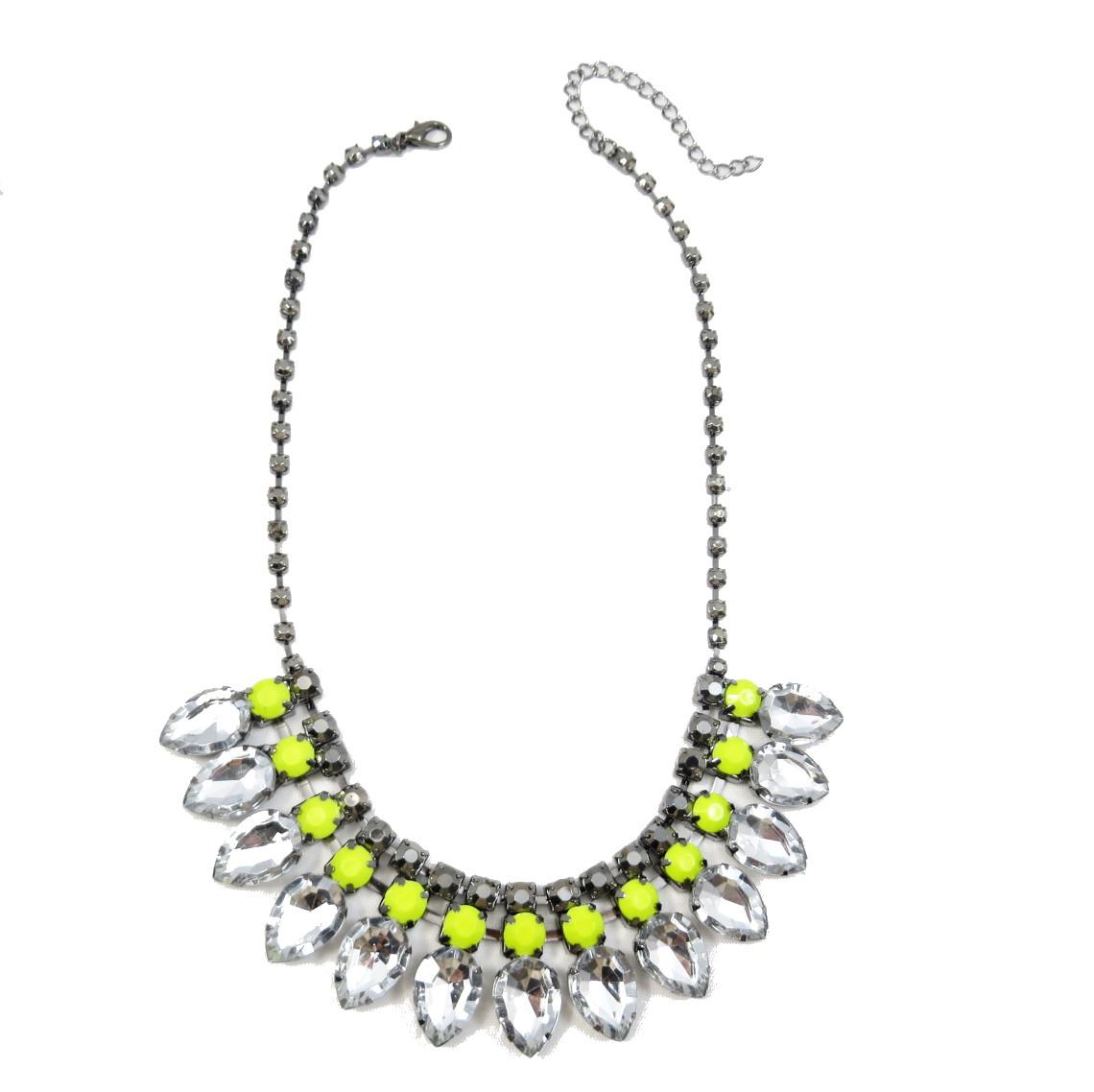 Neon Yellow Teardrop Diamante Bib Statement Necklace