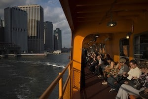 Riders on the Staten Island Ferry