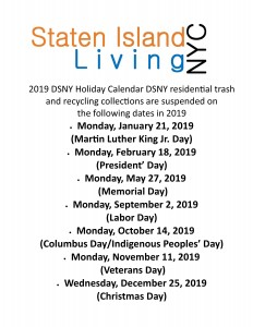 Dsny Holiday Calendar Nyc Holiday Garbage Schedule 2019 Staten