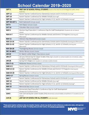 2019-20 NYC School Calendar
