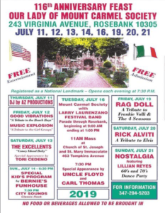 Schedule 116th Anniversary Feast Our Lady Of Mount Carmel Society Staten Island, NY 2019