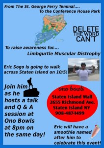 On Saturday, October 5th, 2019 Staten Islander Eric Sogo will be taking on a great feat. Eric Sogomonian will be walking through Staten Island, from the St. George ferry terminal to the Conference house in Tottenville.
