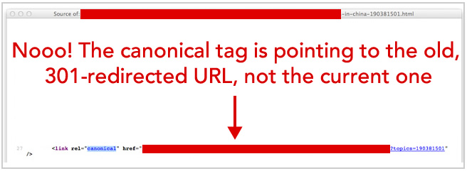 Canonical pointing to old URL