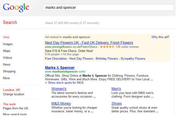 Marks and Spencers Paid Listing