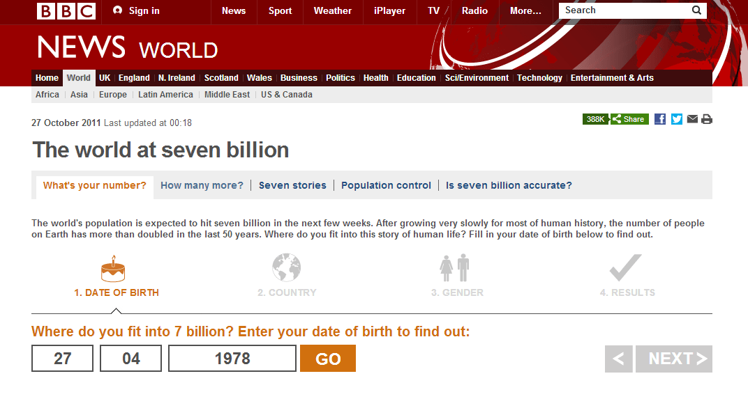 BBC News   7 billion people and you  What s your number