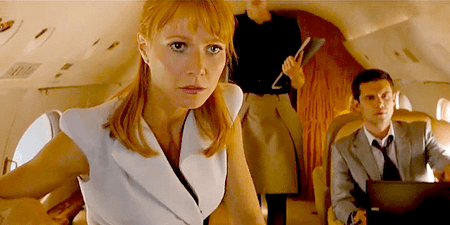 a screen cap from the Avengers of Pepper Potts in white