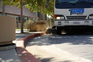 Commercial street sweeping service in California.