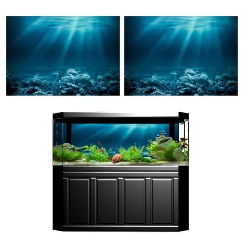 2pcs aquarium background sticker 3d adhesive wallpaper fish tank decorative pictures underwater backdrop image decor