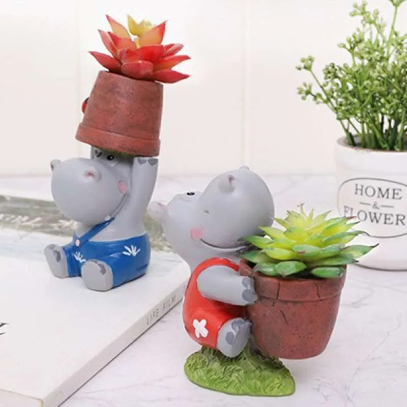 Jual Oem Lovely Hippo Animal Succulent Plant Pot Cactus Plant Pot Flower Pot Perfect For Desk Decor Gift Idea 2 Pcs Online September 2020 Blibli Com