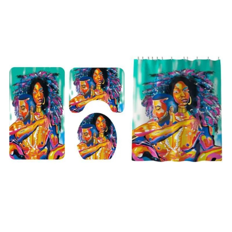 Jual 4 Pieces African Couple Shower Curtain Set With Bath Rug Toilet Lid Cover Online November 2020 Blibli Com