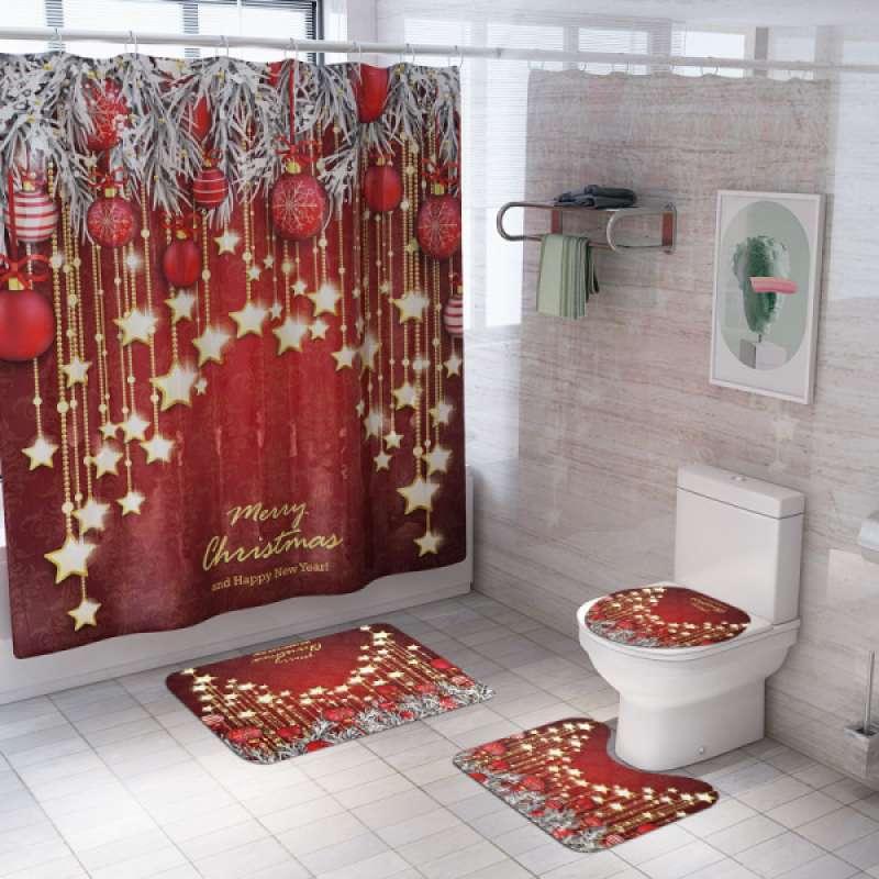 Jual Pack Of Merry Christmas Bathroom Decorative Set Includes Shower Curtain U Shaped Contour Toilet Mat Bath Mat And Toilet Lid Cover Christmas Star Online November 2020 Blibli Com