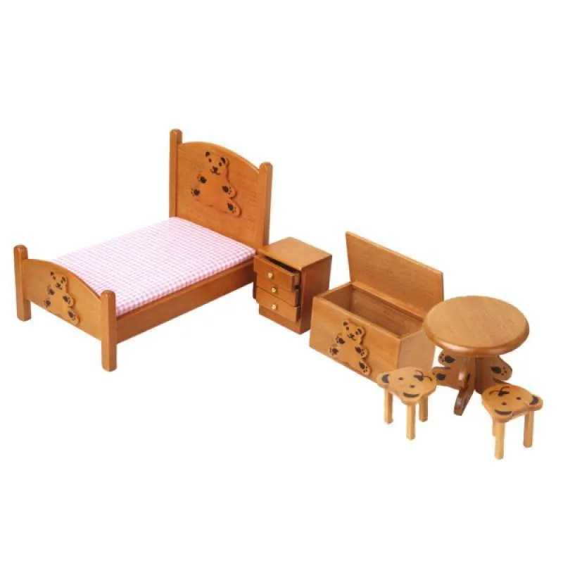 Jual 1 12 Wooden Bed Cabinet Stool Table Dolls House Mini Bedroom Furniture Set Online September 2020 Blibli Com