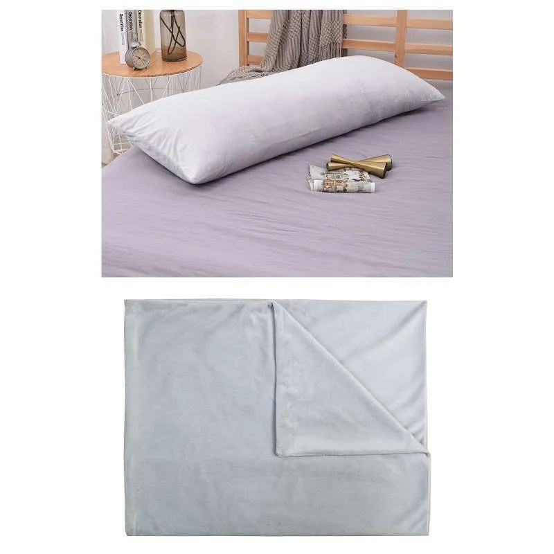 non allergenic bolster pillow case body support pregnancy gray 50x137cm