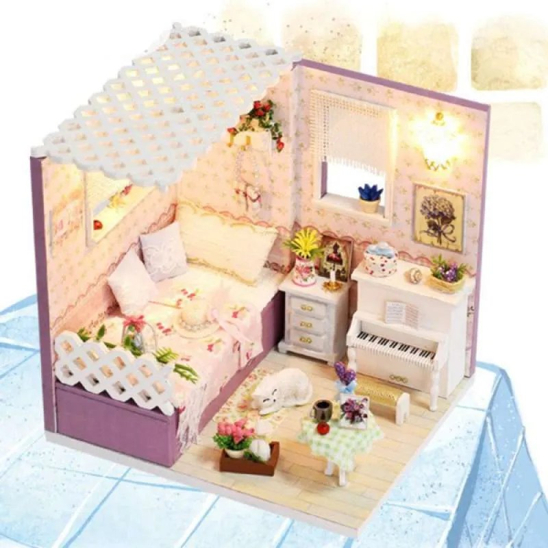 Jual Oem Bedroom Living Room Diy Miniature Accessories Kit With Furniture Led Light Online September 2020 Blibli Com
