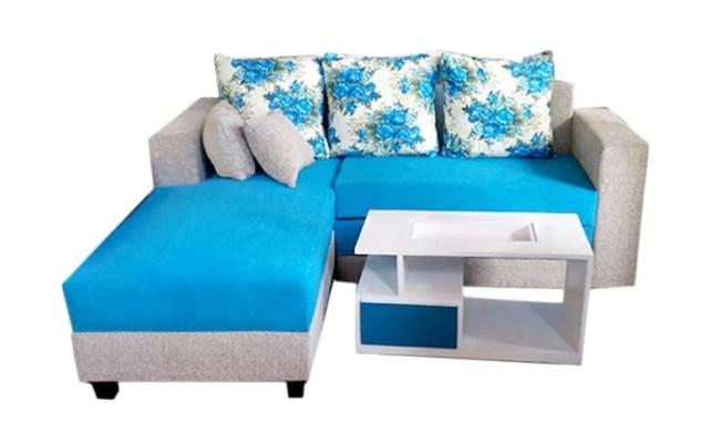 Jual Aldi Furniture Minimalis Sofa L Bed Biru