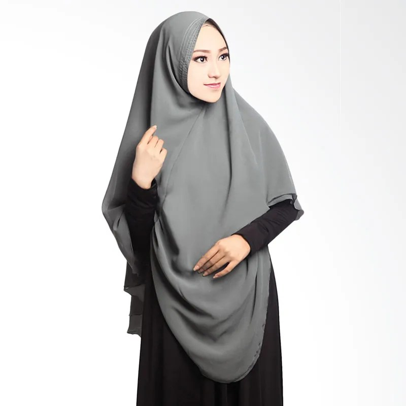 Jual Cotton Bee Khimar Draperry Hijab Syari  Grey Online