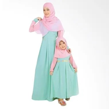 BajuYuli Gamis Couple Ibu Anak - Mint Peach